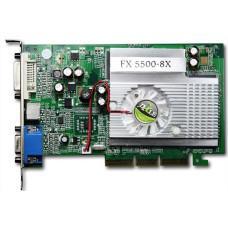 Видеокарта AGP 256 Mb GeForce FX5500 128 bit DDR DVI/VGA/TV-out