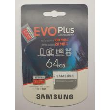 Карта памяти microSDXC 64 Gb Samsung EVO Plus class10 with Adapter (новая/на гарантии)