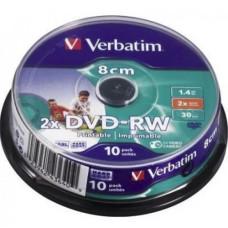 Диск mini DVD-RW 8 см Verbatim 10 pack / 1.4 Gb (новый)
