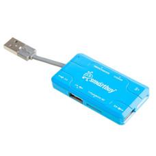 Card Reader USB 2.0 + USB HUB Smartbuy Combo SBRH-750-B (Blue)